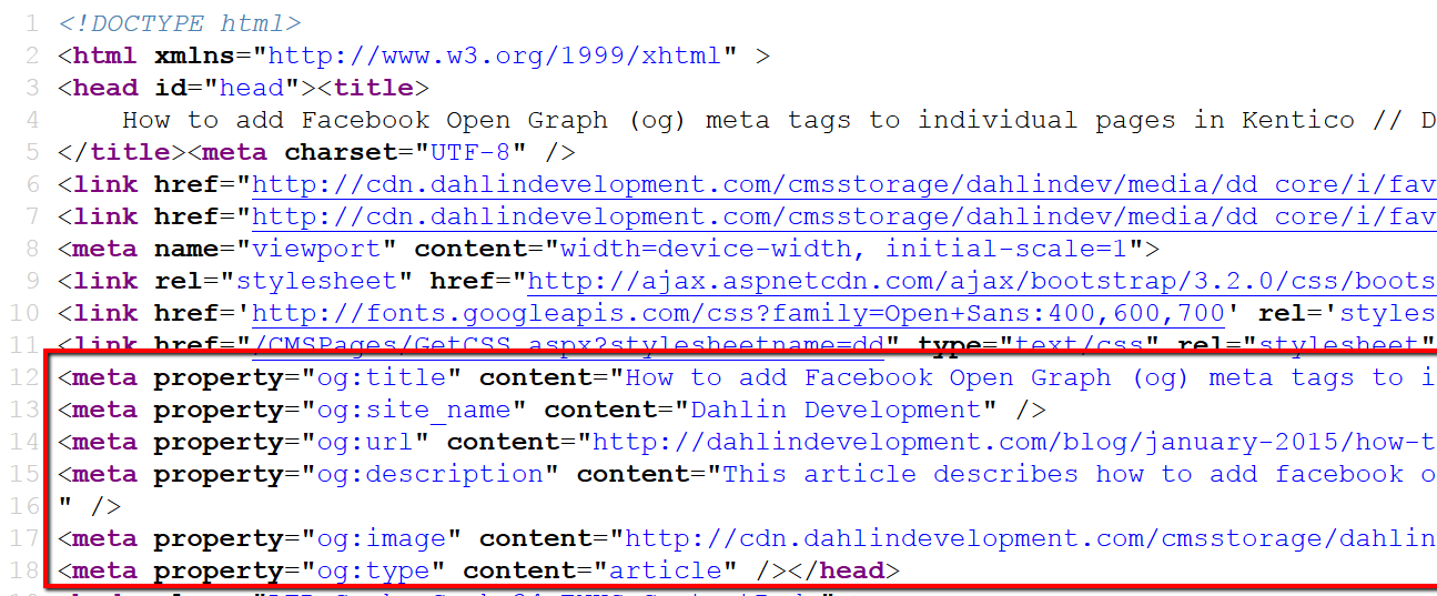 How to add Facebook Open Graph (og) meta tags to individual pages in Kentico